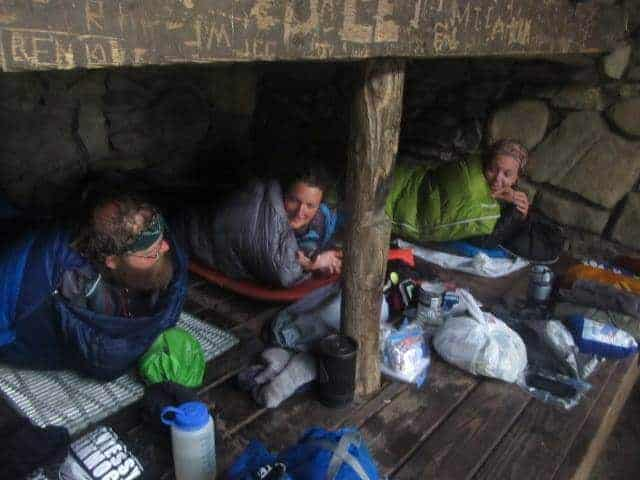 sleeping in a shelter on the Appalachian Trail