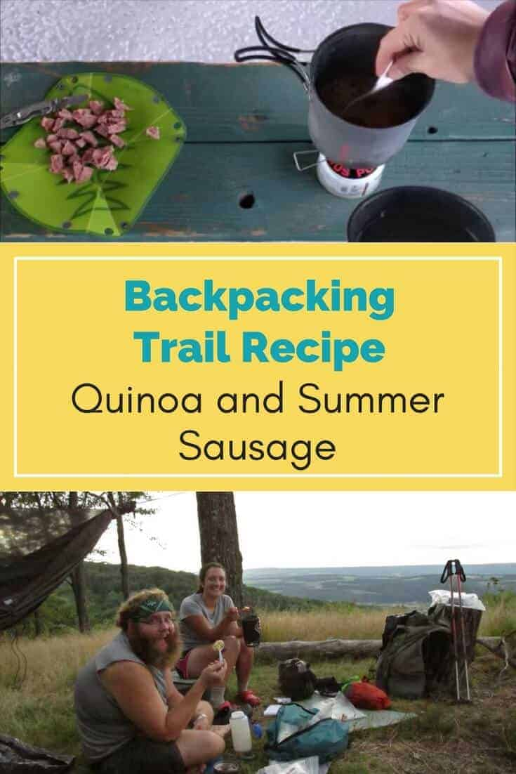 backpacking meal quinoa and summer sausage