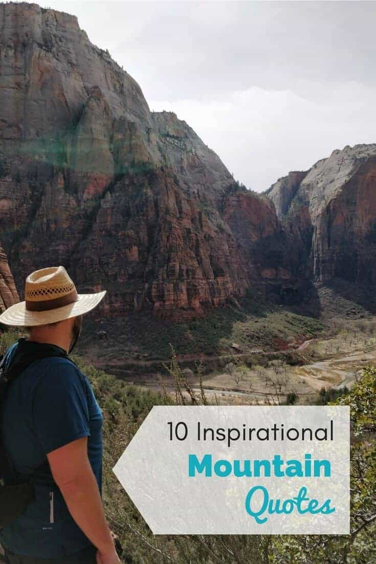 male hiker with text overlay 10 inspirational outdoor quotes