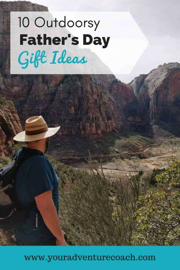 Outdoors Father's Day Gift Ideas picturing a male hiker looking over a river valley hiking trail