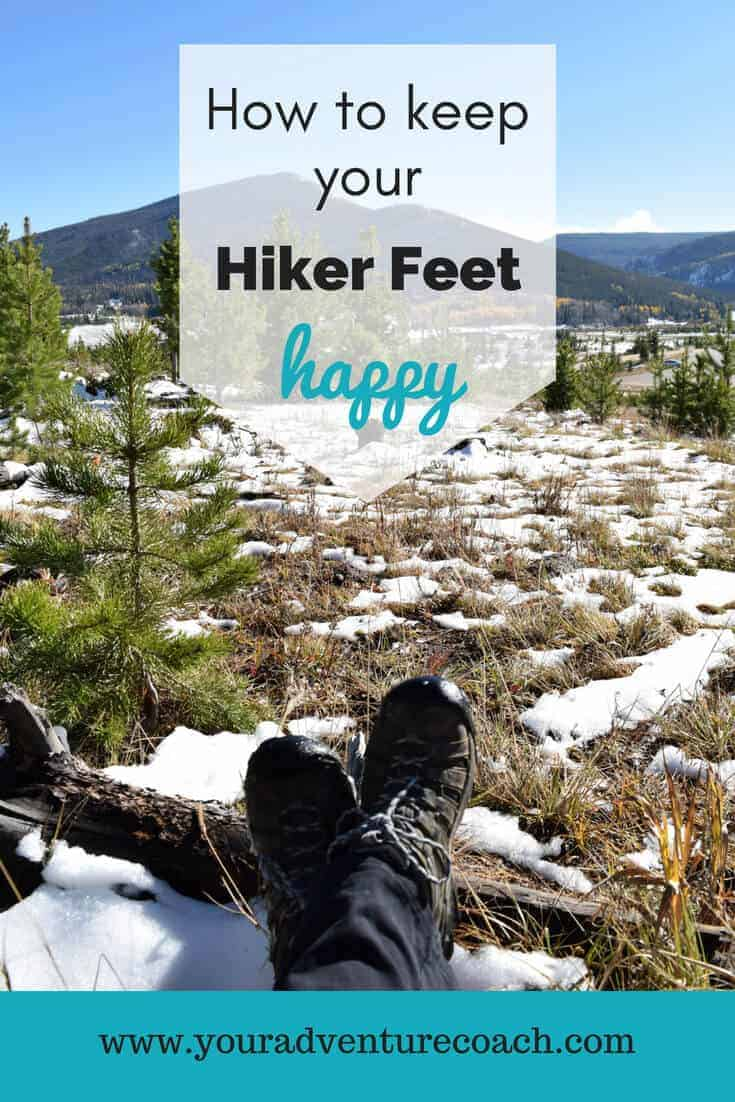 how to prevent blisters and keep your hiker feet happy picturing hiking boots and mountains in the background