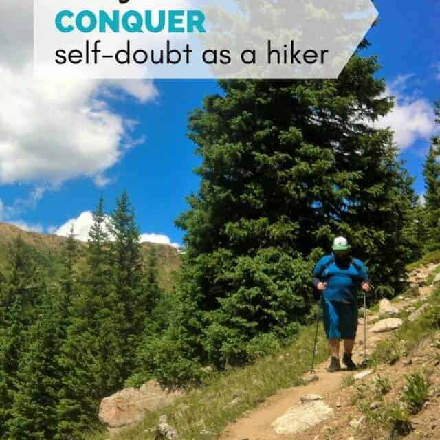 ways to conquer self-doubt as a hiker picturing a male hiker on a mountain trail