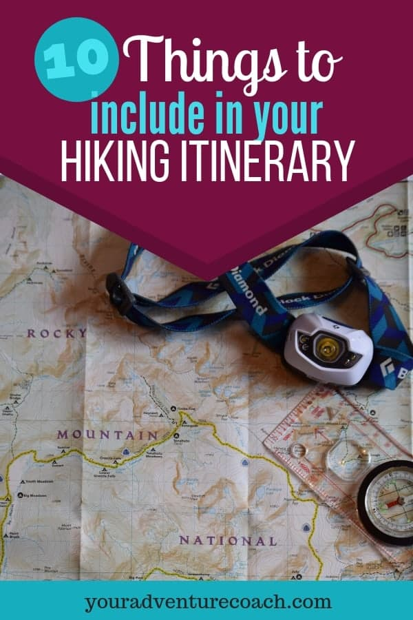 what to put in your hiking itinerary