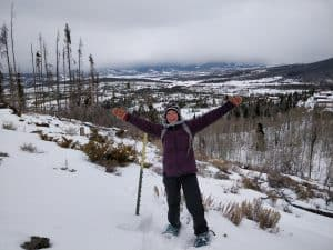 hiking in winter snowshoes