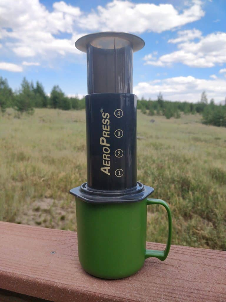 Aeropress coffee maker for camping