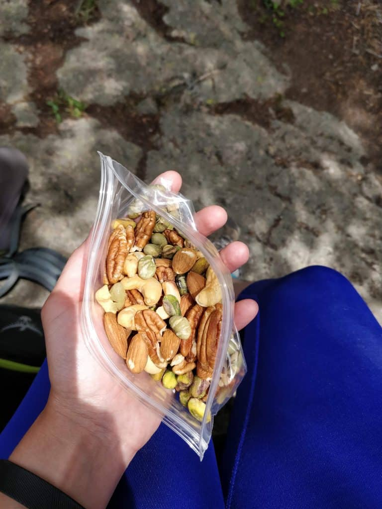 mixed nuts as a healthy hiking snack