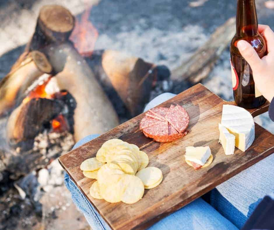 cheese board while camping