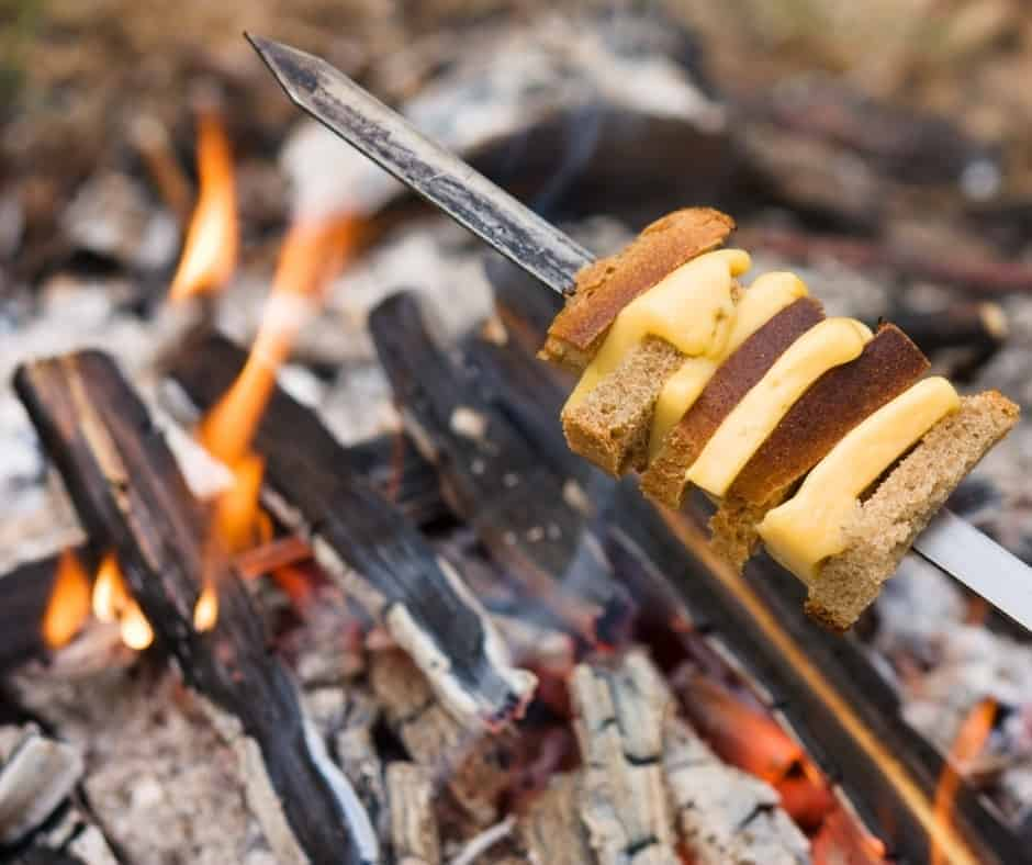 grilled cheese over a campfire