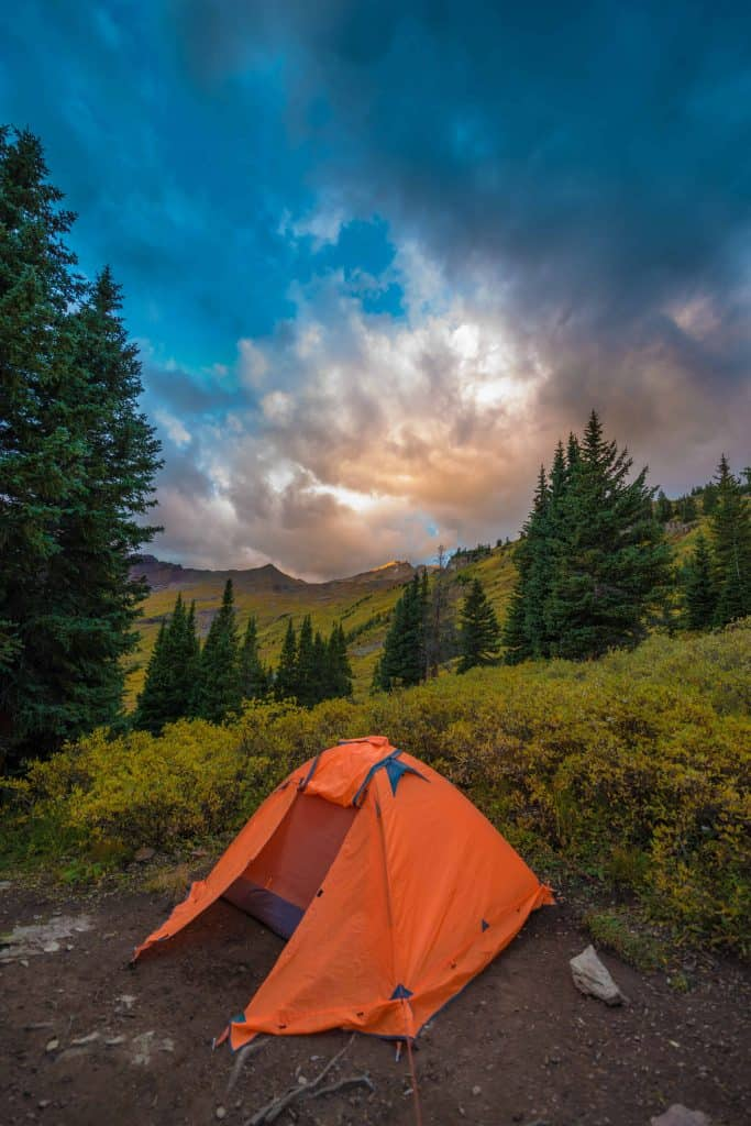 backpacking tent with poles