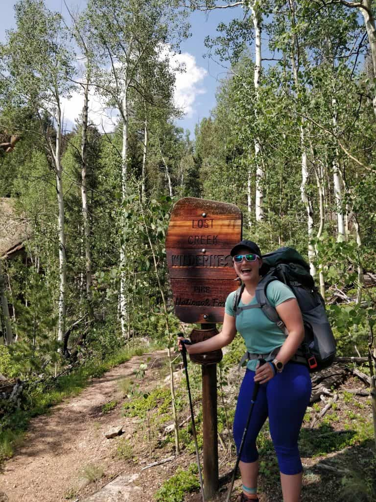Lost Creek Wilderness Loop backpacking at trail sign