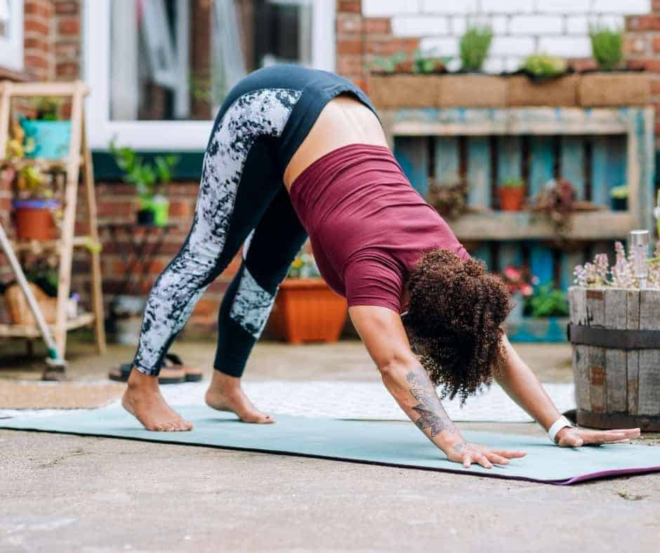 downward dog to treat sore calf muscles from hiking